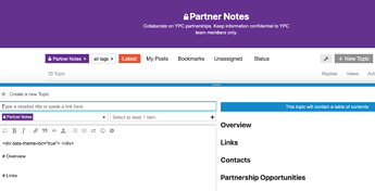 Screenshot of Youth Power Coalition Partner Notes Category